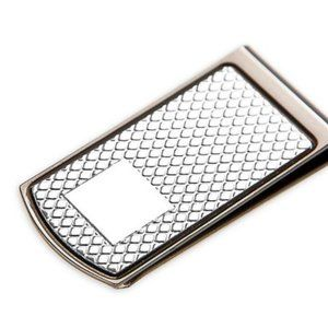 Classic Diamond Embossed Pattern Money Clip in Gun